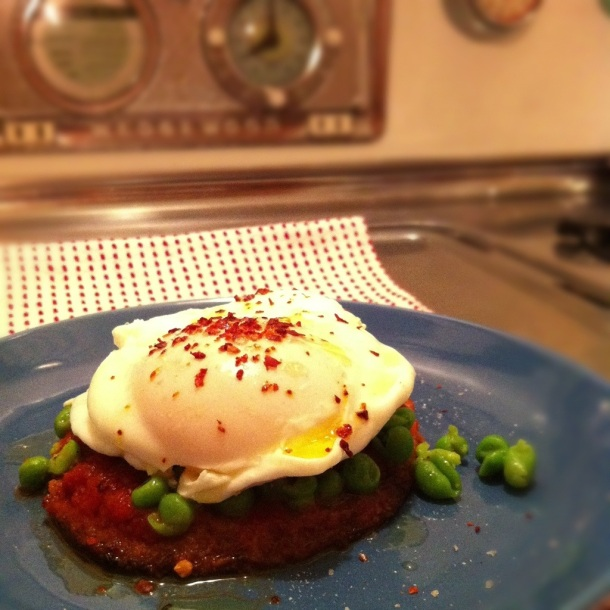 Poached Egg on Eggplant with Spring Pea Mash