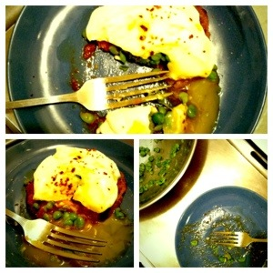 Poached Egg on Pea Mash Collage