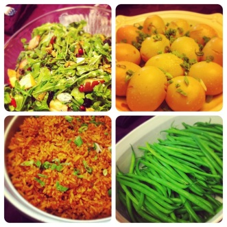Salad, Tea Eggs, Beans, Spanish Rice