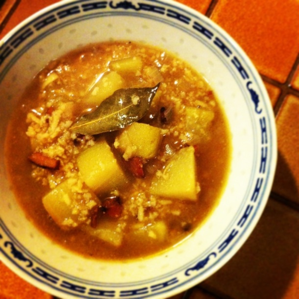 Dirty Chayote and Rice Soup w/ Bacon