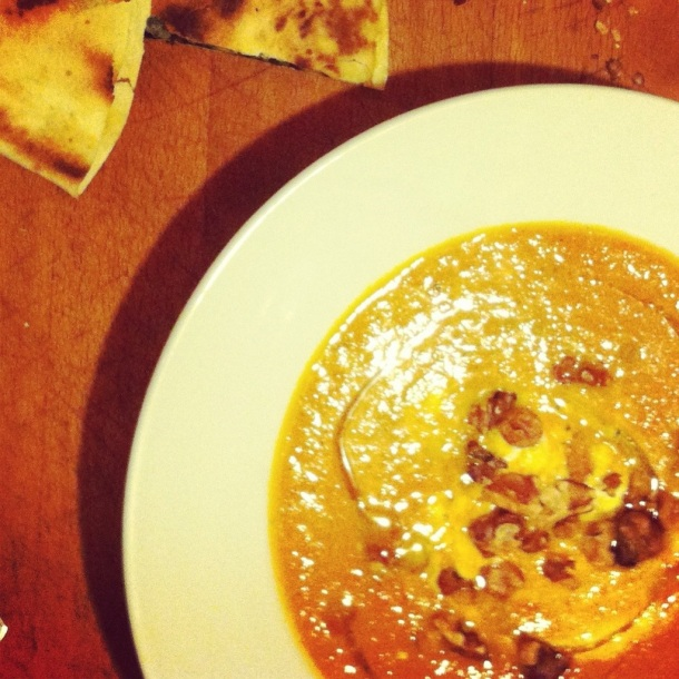 Curried Carrot Soup with Greek Yogurt & Walnuts