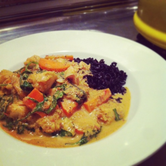 Coconut Curry Cod with Kale & Carrots