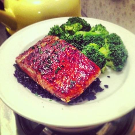 Citrus-Soy Salmon on Black Rice
