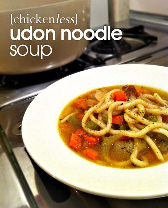 Chickenless Udon Noodle Soup with Butternut Squash