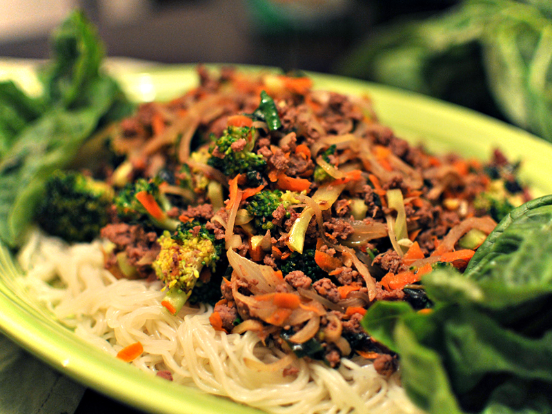 Cellophane Noodles With Pork And Thai Basil Recipe — Dishmaps