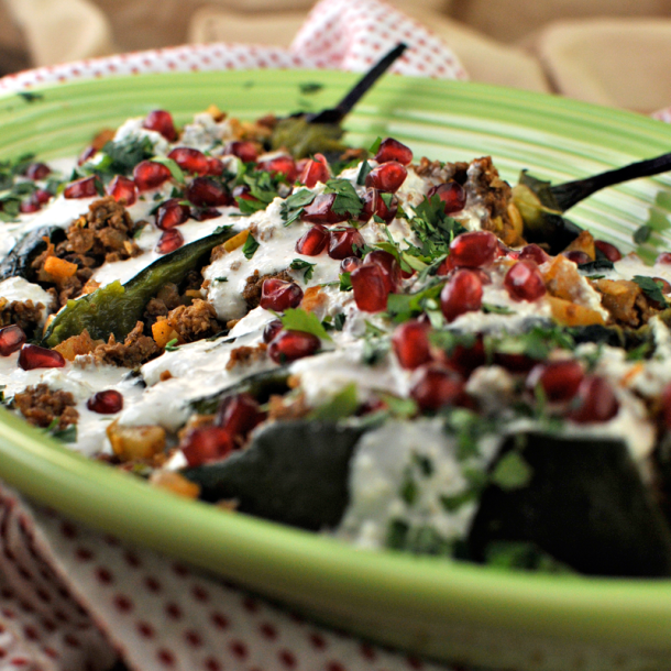 Chiles in Walnut Sauce with Coconut Platter