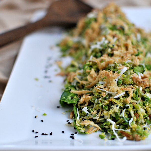 Coconut Pecan Brussel Sprout Salad
