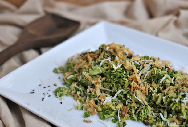 Coconut Pecan Brussel Sprout Salad