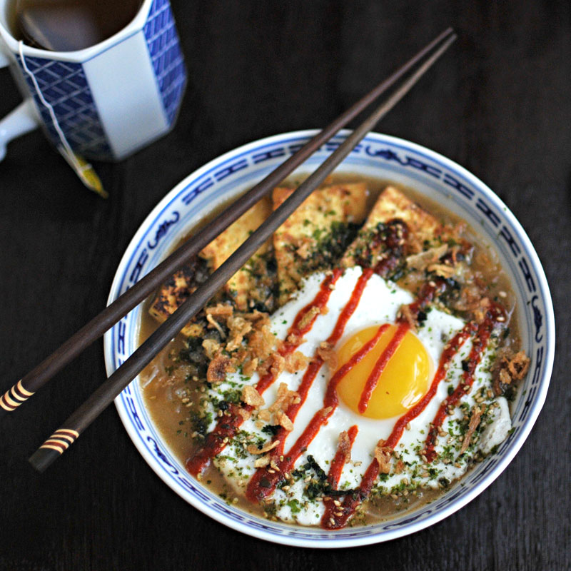 Tofu & Fried Egg Pho with Crispy Onions & Furikake | the pig and quill