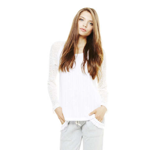 LNA Raglan Sleeve Sweater (2-Tone White)
