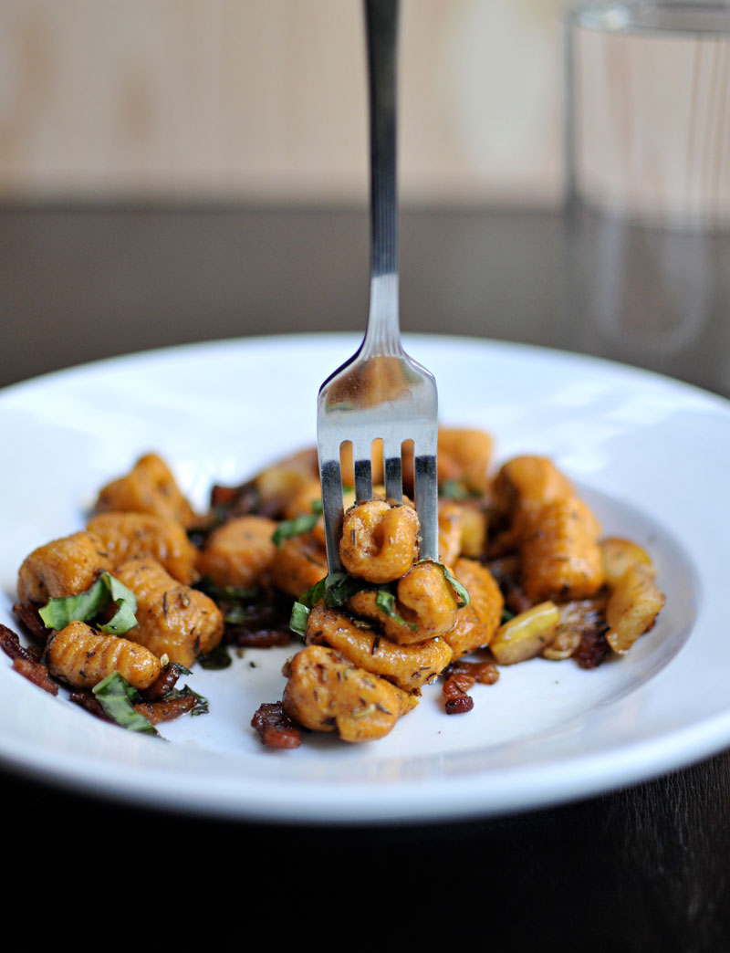 Sweet Potato Gnocchi with Apples, Bacon & Balsamic | the pig & quill