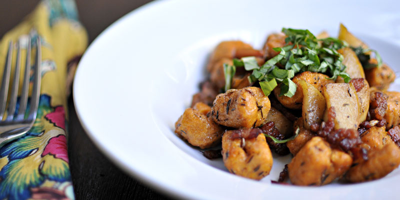 Sweet Potato Gnocchi with Apples, Bacon & Balsamic   the pig & quill