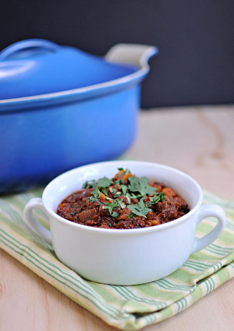 Vegan Soyrizo & Sweet Potato Chili | the pig & quill