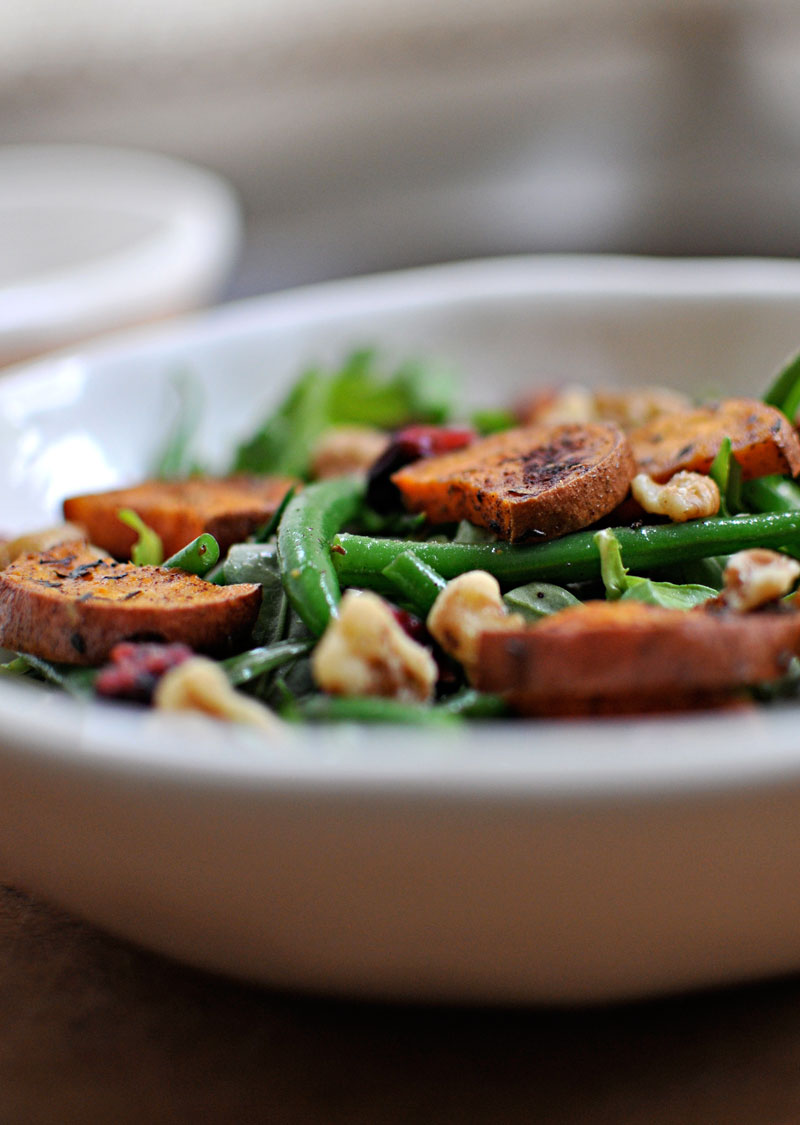 Sweet Potato & Green Bean Salad with Maple-Mustard Dressing | the pig & quill