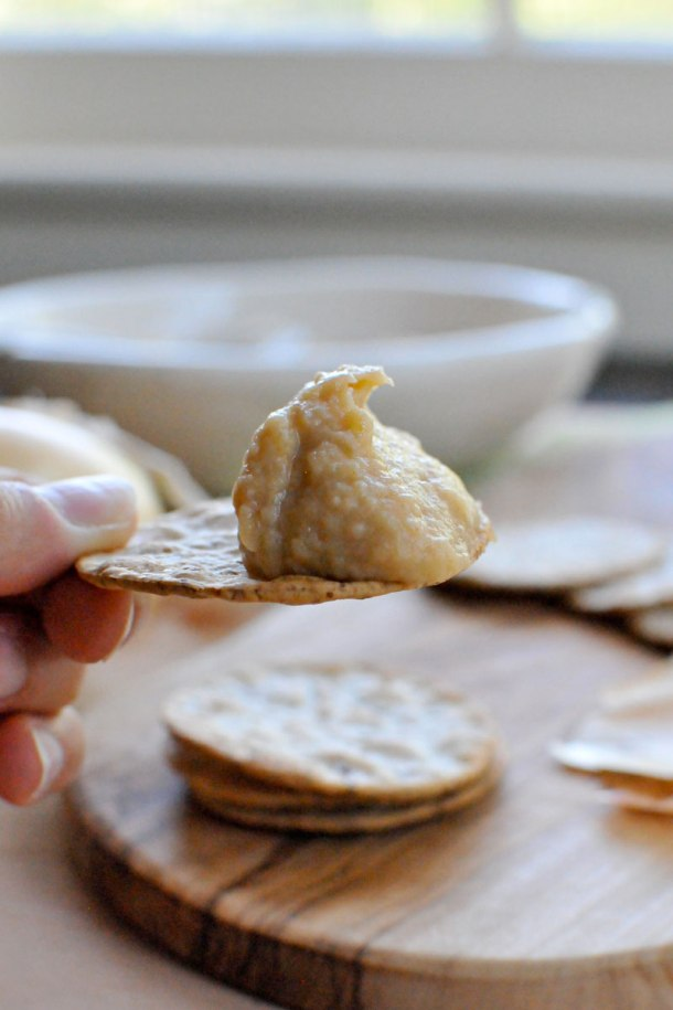 (Almost Vegan) Caramelized Onion White Bean Dip -- with vegan variation | the pig & quill