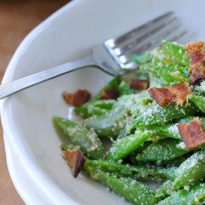 Snap Pea, Parmesan & Bacon Salad with DijonDressing