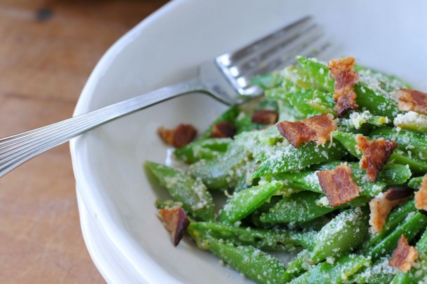 Snap Pea, Parmesan & Bacon Salad with Dijon Dressing | the pig & quill