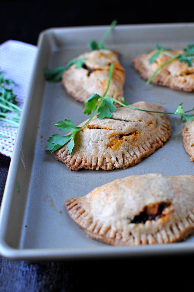 Soy Chorizo and Black Bean Empanadas recipe (via thepigandquill.com) #handpies #vegetarian #sweetpotato