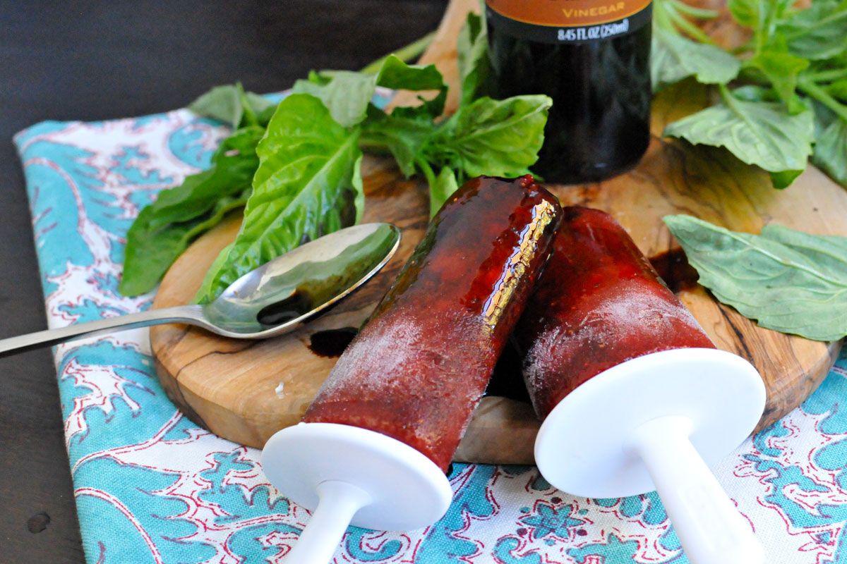 Strawberry-Basil & Balsamic Ice Pops   the pig & quill