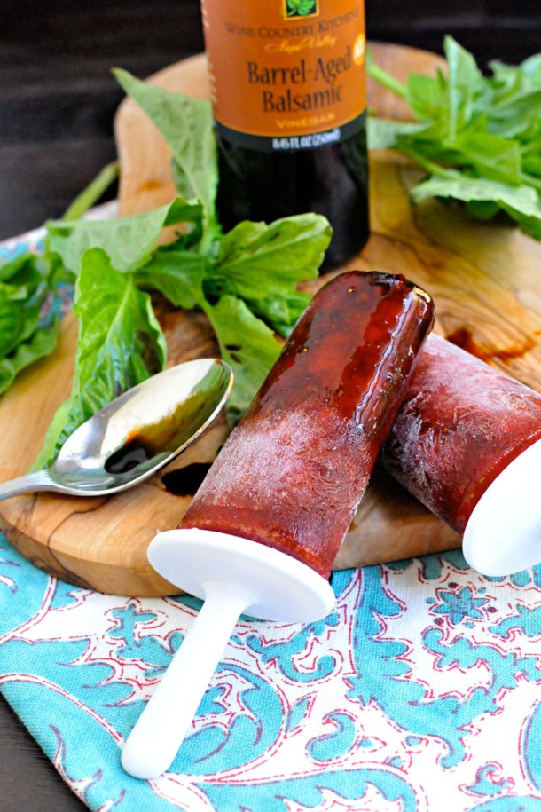 Strawberry-Basil & Balsamic Ice Pops | the pig & quill