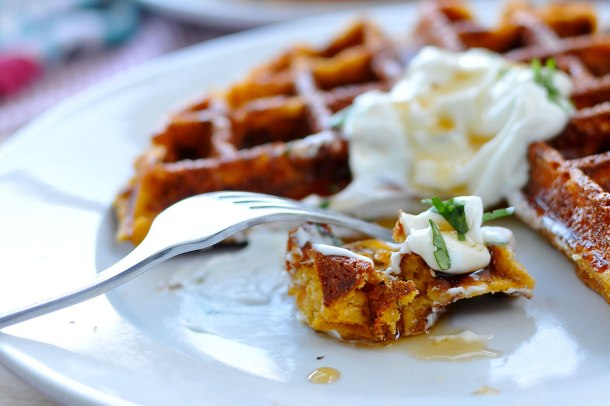 Cheesy Sweet Potato Waffles w/ Sour Cream & Maple | the pig & quill