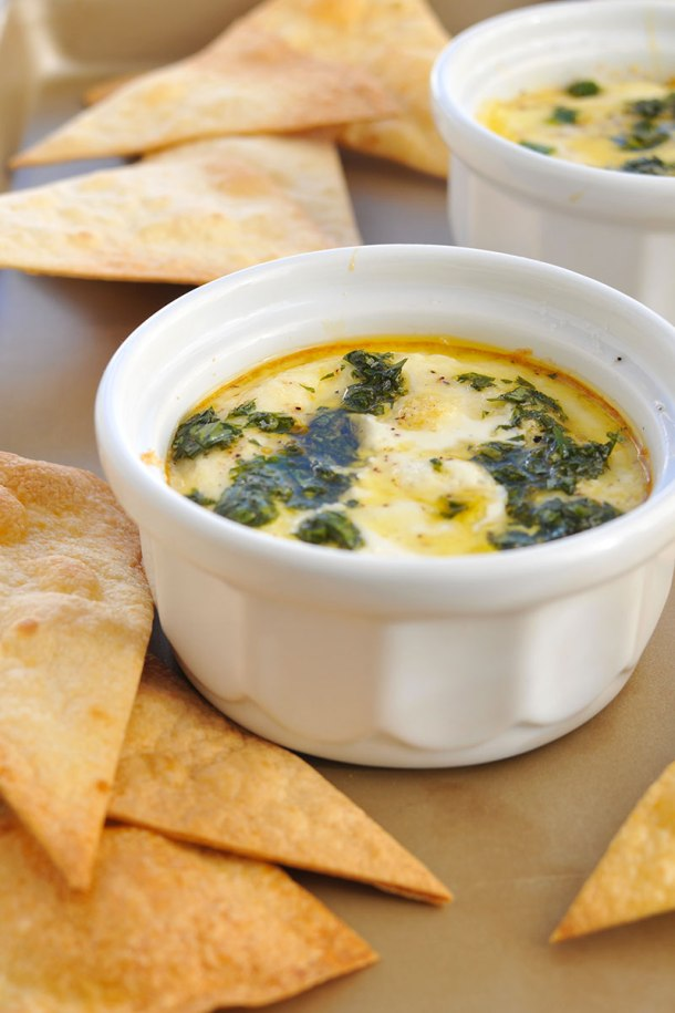 Christmas Eggs! Creamy Baked Eggs with Chimichurri (gluten-free-optional) // the pig & quill
