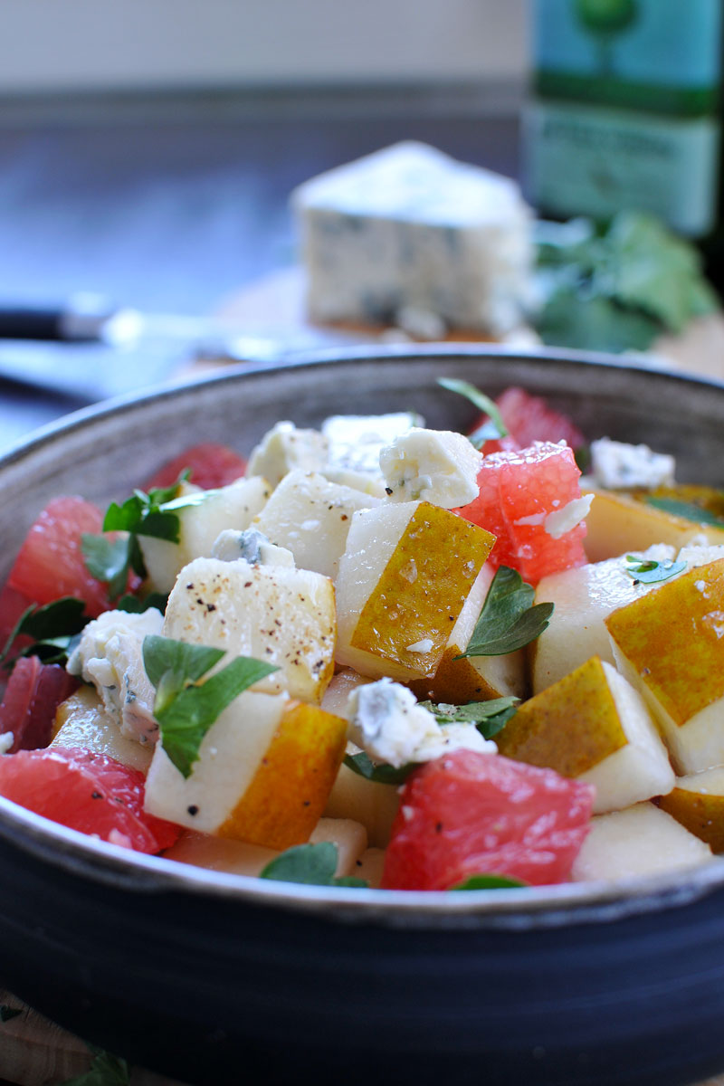 Grapefruit, Gorgonzola, Pear & Parsley Salad (gluten-free)   the pig & quill