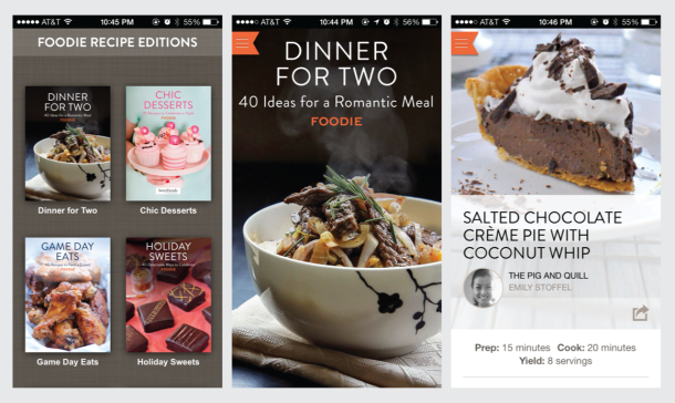 "Foodie.com Recipe App - 40 ""Dinner for Two"" Recipes plus dozens of other collections. Free in the App Store! 
