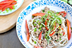 Rice Noodles w/ Coconut-Braised Bison & Peppers (gluten-free, paleo-ish)