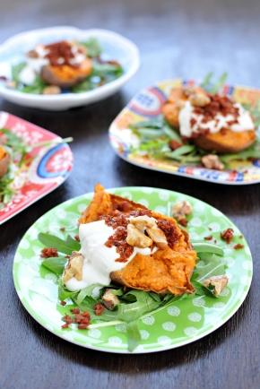 Cheesy Twice-Baked Sweet Potatoes w/ Crispy Chorizo & Maple Cream (gluten-free, veggievariation)