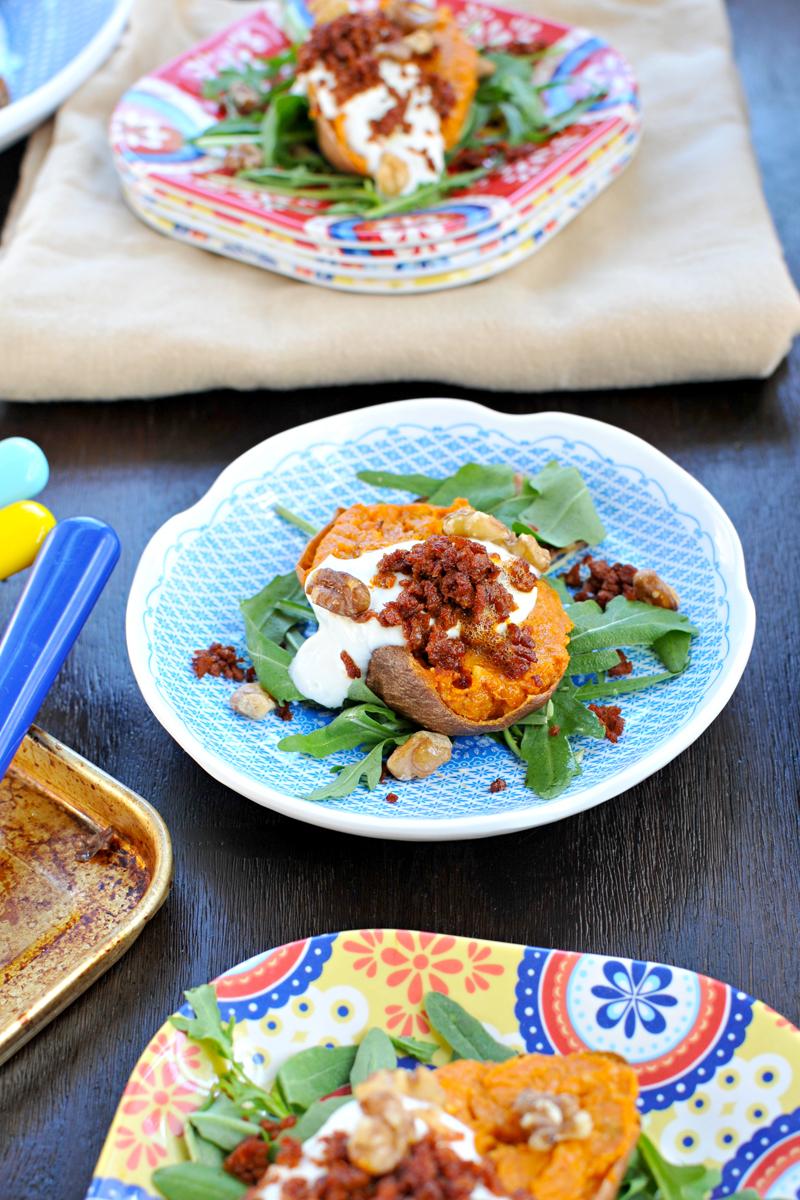 Cheesy Twice-Baked Sweet Potatoes w/ Crispy Chorizo & Maple Cream (gluten-free, veggie variation) // the pig & quill
