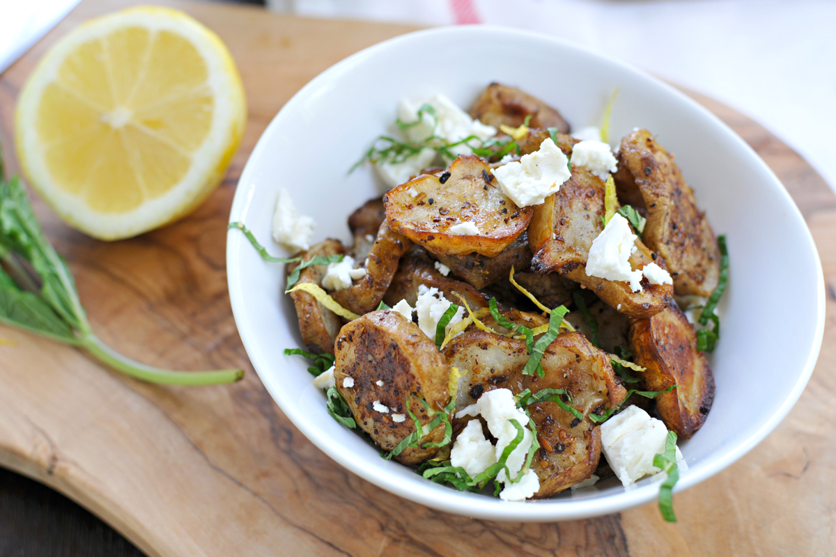 Masala Roasted Sunchokes with Feta, Mint & Lemon // the pig & quill