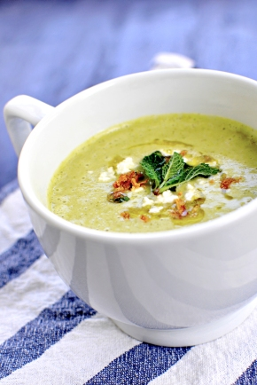 Springtime Broccoli Cheese Soup with Peas & Scallions (gluten-free, vegetarian)