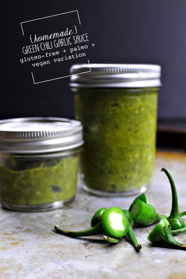 Homemade Green Chili-Garlic Sauce | www.thepigandquill.com | #glutenfree #vegan #paleo