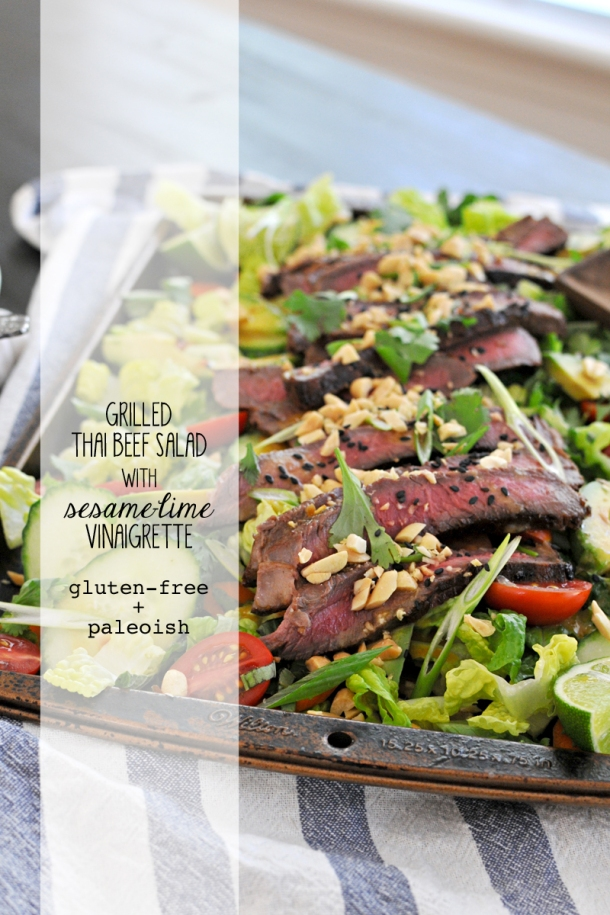 Grilled Thai Beef Salad with Sesame-Lime Vinaigrette | www.thepigandquill.com | #glutenfree #paleoish #soletshangout