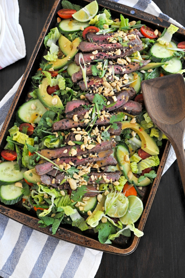 Grilled Thai Beef Salad with Sesame-Lime Vinaigrette | www.thepigandquill.com | #glutenfree #paleoish #soletspigout
