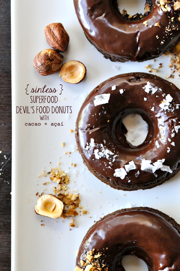 Sinless Superfood Devil's Food Donuts (cacao + açaí) | www.thepigandquill.com | #grainfree #SoLetsPigOut