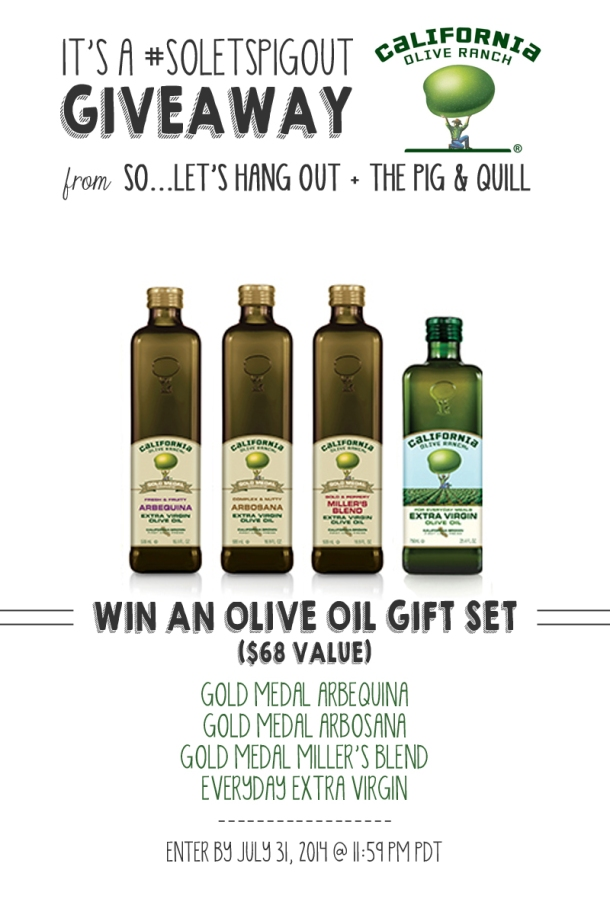 Olive Oil Gift Set Giveaway! Enter by 7/31/14 | www.thepigandquill.com | #soletspigout