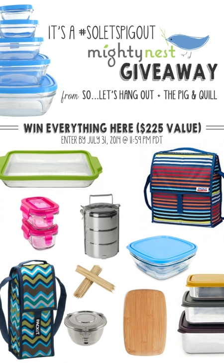 Giveaway! Enter to win more than $225 of kitchen essentials from MightyNest! Enter by 7/31/14 | www.thepigandquill.com | #soletspigout